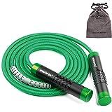 Cuerda de saltar ajustable ponderada Cuerda de velocidad Crossfit para mujeres Hombres - Mango de aluminio y cuerda de 9 mm de grosor - Ideal para fitness, pérdida de peso, Crossfit, boxeo (Verde)