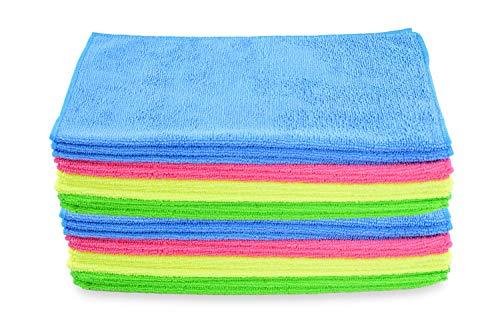 Hypafol Microfaser Handtücher | 24 St. | 32x32cm | pflegeleicht | Poliertuch, Putzlappen zur Oberflächen Reinigung | Microfasertuch gemischte Farben | Zur Autopflege, Gebäudereinigung, Gastronomie