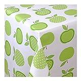 WACHSTUCH Tischdecken Wachstischdecke Gartentischdecke, Abwaschbar Meterware, Länge wählbar, Green Apples Äpfel Grün Weiß (623-01)