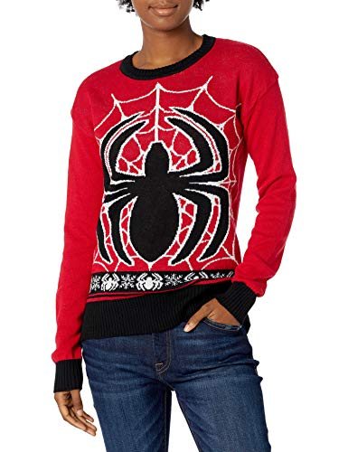 Marvel Women's Ugly Christmas Sweater, Spiderman/Red, X-Large