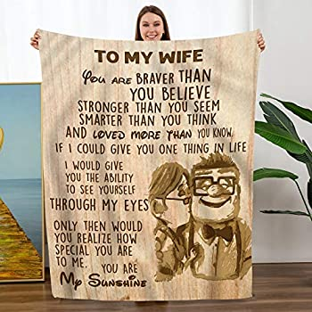 TURMTF to My Wife Flannel Blanket from Husband Christmas Birthday Personalization Gift Healing Thoughts Throws Blanket to My Wife from Husband