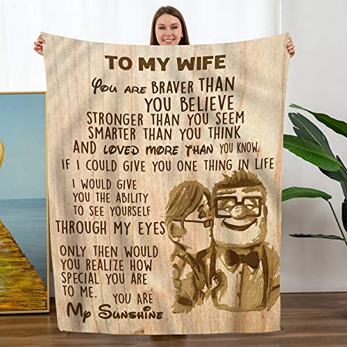 to My Wife Throw Blanket from Husband Christmas Birthday Personalization Gift Soft Bed Flannel Blanket
