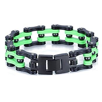 Silking Jewelry Heavy Metal Stainless Steel Men s Motorcycle Bike Chain Bracelet Green Bangle 17mm 8.85inch