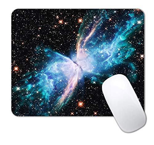 IMAYONDIA Rectangle Mouse Pad, Outer Space Mousepad, Butterfly Mouse Pads, Anti-Slip Rubber Mousepad for Office Gaming Laptop Computer PC Men Women ( Blue Green Galaxy )