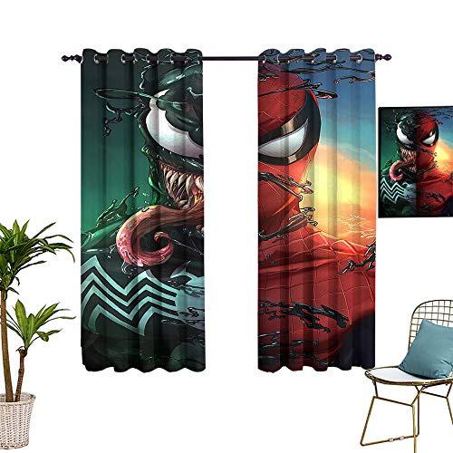 Geperforeerde bar mond verduisteringsgordijnen Spider en Venom Personality Art verduisteringsgordijnen voor geïsoleerde kamers 60x96