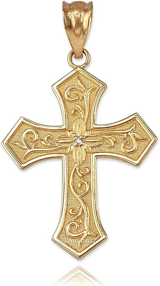 14K Yellow Gold Christian Passion Diamond Cross Pendant Necklace