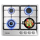 24 inches Stainless Gas Cooktop Built in Gas Stove 4 Burners Gas Stove Cooktop (4 Sealed Burners) Stove Burner Castiron Grate Stove-Top LPG/NG Dual Fuel Thermocouple Protection and Easy to Clean
