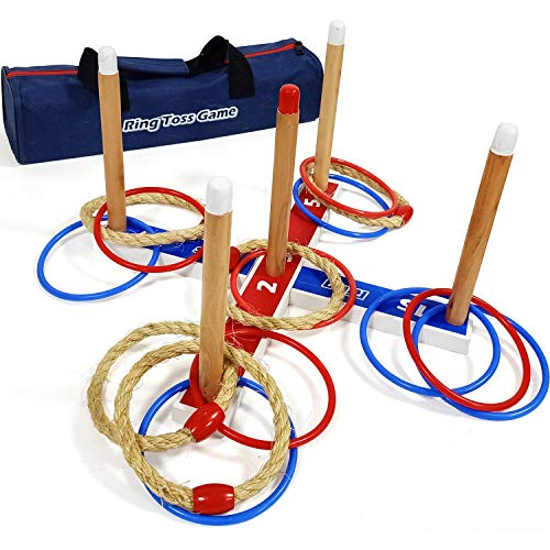 JacMok Deluxe Ring Toss Game -Ringwurfspiel-Throwing Quoits Game with Carry Bag