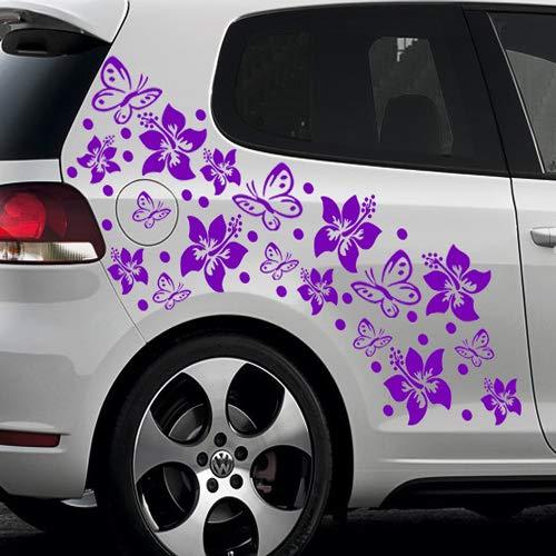 66-teiliges HIBISKUS BLÜTEN HAWAII BLUMEN SCHMETTERLINGE Auto Aufkleber Set - SB_001 (040 violett)