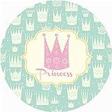 Morbuy Redonda Alfombra para Salon Infantil Bebe Dormitorio Cocina Exterior, Moderno Cartoon Suave Antideslizante Yoga Picnic Alfombra de Piso Decoración del Hogar (120x120cm,Corona de la Princesa)