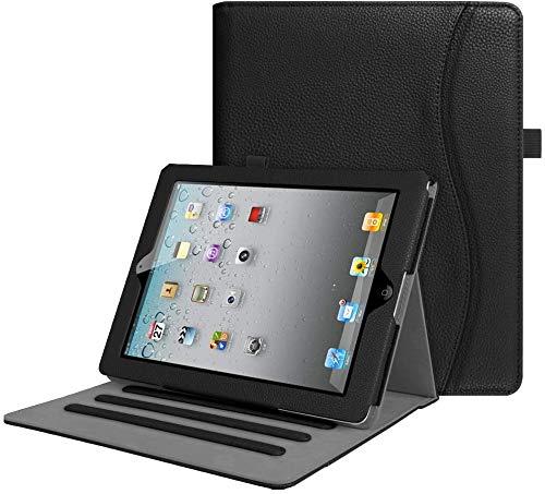 FINTIE Funda para iPad 4/3/2 - [Protección de Esquina] [Multiángulo] Carcasa con Bolsillo y Función de Soporte y Auto-Reposo/Activación, Negro