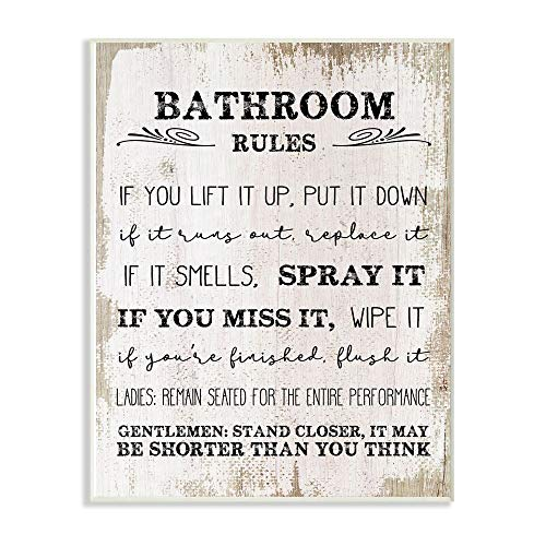 Stupell Industries Bathroom Rules Funny Word Wood Textured Design Wall Plaque, 12 x 18, Multi-Color
