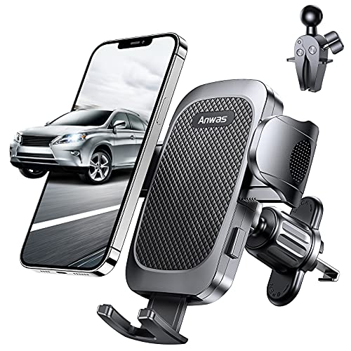 """Anwas Car Phone Holder, Never Fall Strong Grip Hook Air Vent Phone Mount, [Big Phone and Thick Cases Friendly] Phone Cradle, Compatible with 4.0""""-7.0"""" Smartphone"""