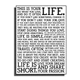 KAAF Holstee Manifesto Poster Life Motivational Inspiring Art Posters Print for Home Living Room Decor Ready to Hang-16X24 InchWooden Frame
