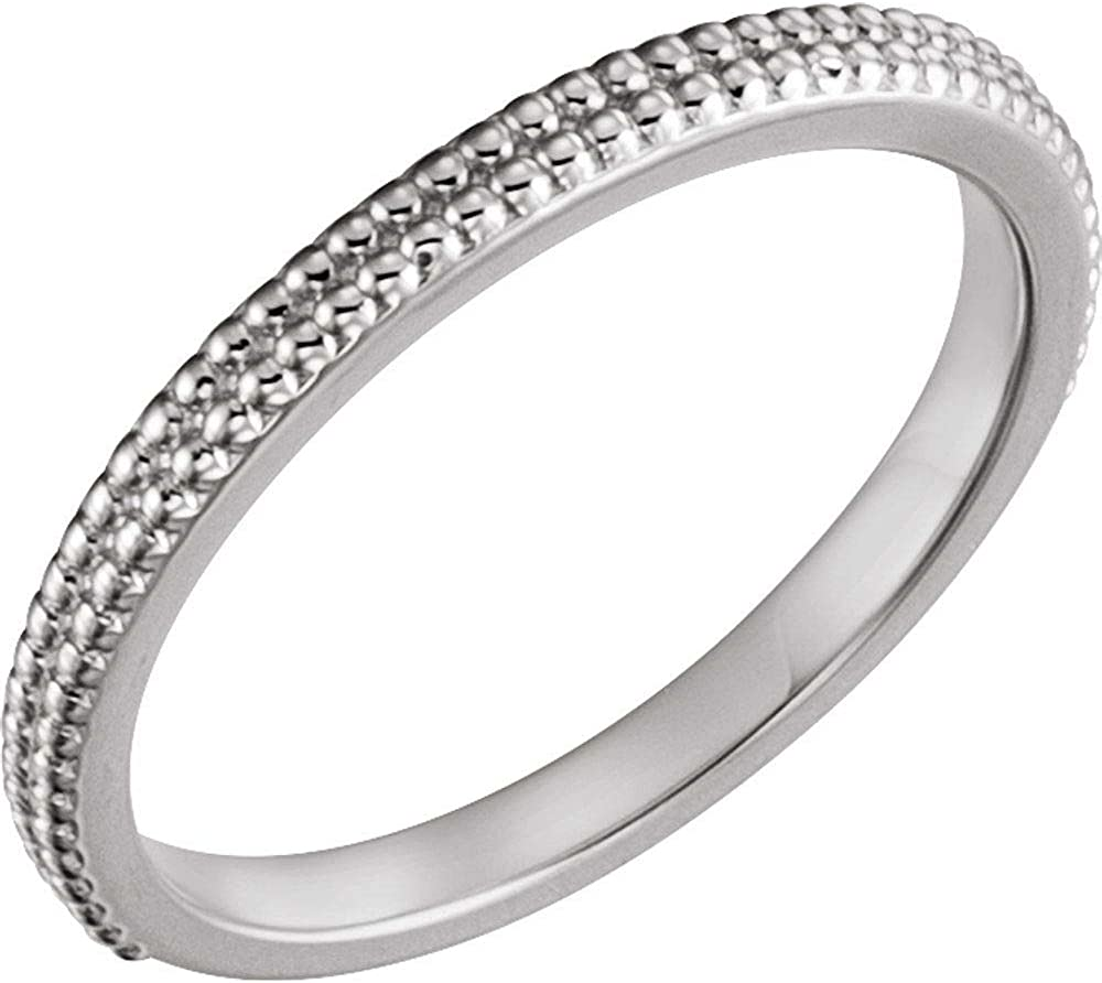 14k Sale Popular overseas price White Gold Stackable Ring Bead Size 7