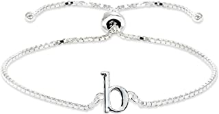 Sterling Silver Initial Alphabet Letter Name Adjustable Bracelet Personalized Gifts for Women, Teens or Girls