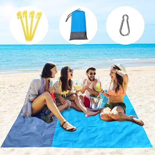 Picknickdecke 210x200cm Stranddecke Wasserdicht Groß Strandmatte Sandfrei Mit 4 Befestigungsecken Faltbare Campingdecke für den Strand, Campen, Park und Ausflüge
