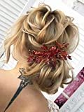 Kercisbeauty Brautschmuck, Hochzeits-Haarschmuck, roter Kristall, Haarkamm, Gold, Stirnband, Party, Ball, Damen, Kopfschmuck