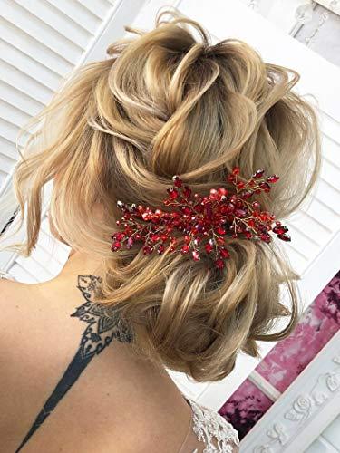Kercisbeauty - Tocado para el pelo, para novia, tipo peineta, accesorio para el cabello, con cristales, color dorado, para fiesta de graduación, para mujer