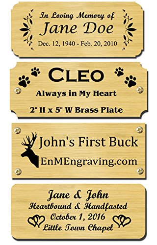 2 H x 5 W, Solid Brass Satin Name Plates, Personalized Custom Laser Engraved Nameplate Label Art Tag for Frames Notched Square or Round Corners, Made to Order, Made in USA