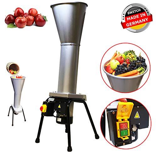 DMS® Industrie Obsthäcksler Elektrische Obstmühle Obstpresse Endschalter 1.5 kW, Apfelpresse, XXL Trichter, Sicherheitsschalter, 800 kg pro Stunde, 2800 U/min