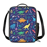 Vunko Funny Dinosaurs Insulated Lunch Bag for School Work Office Picnic Plam Leaves Tote Lunch Box Containers for Adults and Kids Compact Reusable Cooler Bag with Shoulder Strap