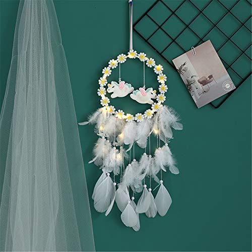 SWECOMZE Atrapasueños de unicornio, hecho a mano, flores, atrapasueños, plumas, bohemio, decoración de pared, boda, adornos, artesanía para niños y niñas (con luces)