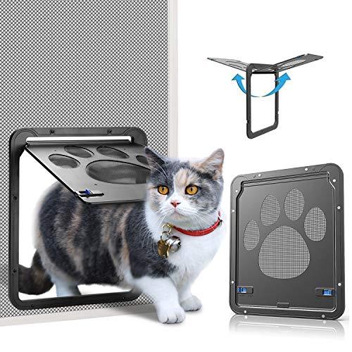 OWNPETS ,Inside Door 8x10x0.4 inch,Lockable Magnetic Flap Screen Automatic Lockable Black Door for Puppy Dog and Cat Door