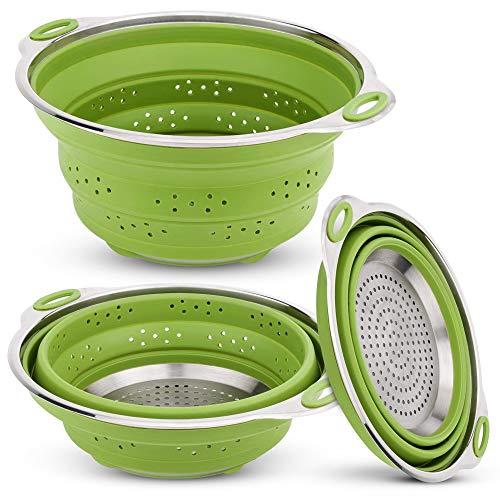 iNeibo Colador de Cocina Silicona Plegable y de Acero Inoxidable,Escurridor silicona de Pasta Plegable y Apta para lavavajillas,Verde