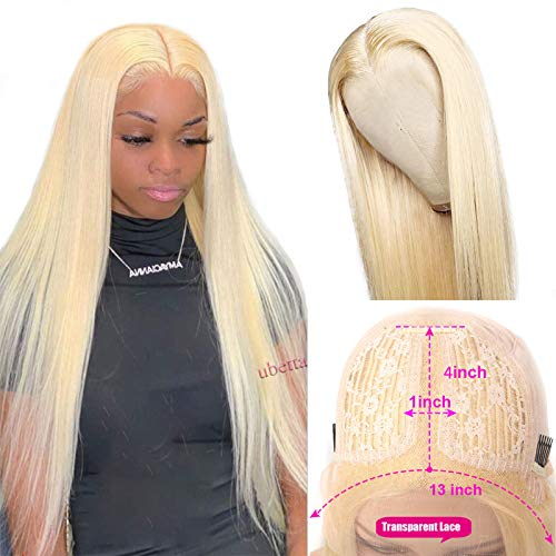 Lace Front Wigs Blonde T-Part Human Hair Remy Wig, 13x4x1 Pre Plucked Middle Part Lace Wigs with Baby Hair Natural Hairline Around-Brazilian Real Human Hair Wigs for Black Women 150% Density 16 Inch