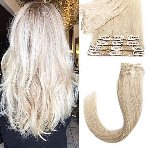 12 Pouces Extensions A Clip Cheveux Naturel 8 pcs Epaisseur Fine Rajout Cheveux Lustrés Raide Clip In Hair Extension Human Hair,60 Blond Platine