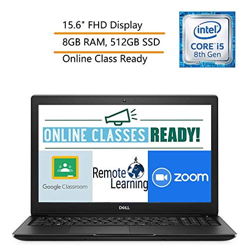 Dell Latitude 3500 15.6' FHD Business Laptop Computer, 8th Gen Intel Quad-Core i5-8265U(Beat i7-7500U), 8GB DDR4 RAM, 512GB SSD, Windows 10 Pro, iPuzzle Mouse Pad, Online Class Ready, Webcam
