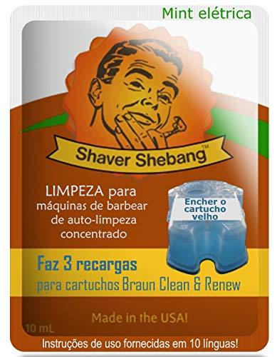3 recargas para cartuchos Braun - Menta eléctrica - 1 soluciones limpiadoras Shaver Shebang - sustitutos de Clean & Renew