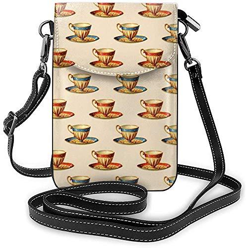 Inner-shop Smartphone Brieftasche Umhängetasche Handy Geldbörse HandytascheSchultertasche Tragetaschen (Teetasse Bild)