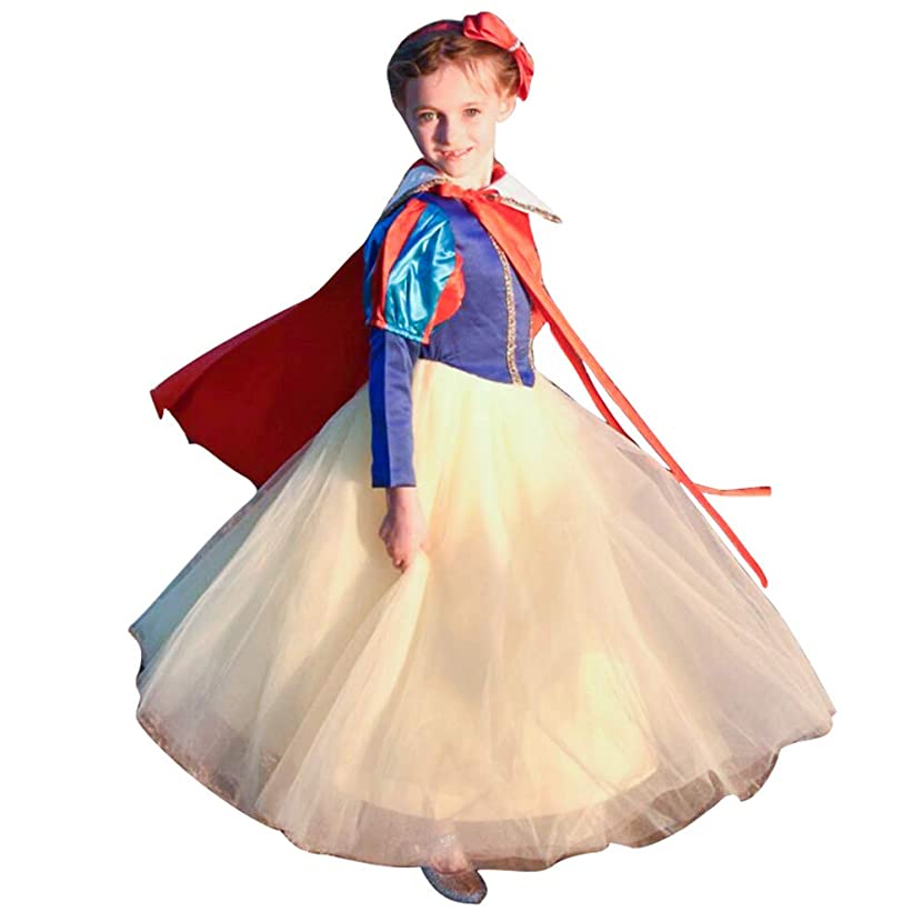 Princess Snow White Costume for Girls Dresses Up Halloween Party with Cape
