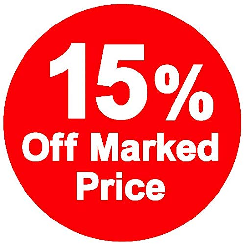 % Off Marked Price Stickers, 15%, 30mm, Red, 50000