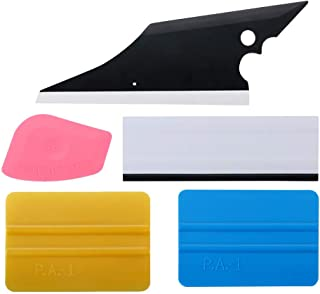 Fine Auto Vinyl Wrap Tool Kit Include Rubber Contour Squeegee,Plastic Razor Scraper, Film Cutter and Blades, Scratch-Proof Window Tint Application Tools