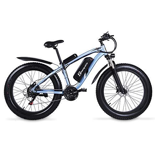 Shengmilo MX02S 48V 1000W Electric Bike Electric Mountain Bike 26inch Fat Tire e-Bike S-h-i-m-a-n-o 21 Speeds Beach Cruiser Mens Sports Mountain Bike Lithium Battery Hydraulic Disc Brakes (black)