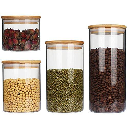 Keuken opslag van voedsel containers Van borosilicaatglas met bamboe deksel opslag jar Opslag thee van de keuken kruiden specerijen
