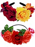 Syhood 2 Pieces Mexican Headband Day of The Dead Headband Flower Crown Costume Headpiece for Women Girls (Classic Colors)