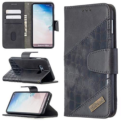 Miagon Samsung Galaxy S10e Stoßfest Brieftasche Hülle Cover,Krokodil Spleißen PU Lederhülle Ständer Kartenfächer Magnetverschluss Silikon Handytasche,Schwarz