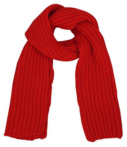Aivtalk - Bufanda de Punto Gancho de Mujer Hombre Solido Estilo Casual Clásico - Rojo - 25x185xm