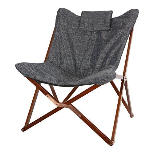 Lesli Living Chaise pliante en forme de papillon Gris 73 x 85 x 98 cm