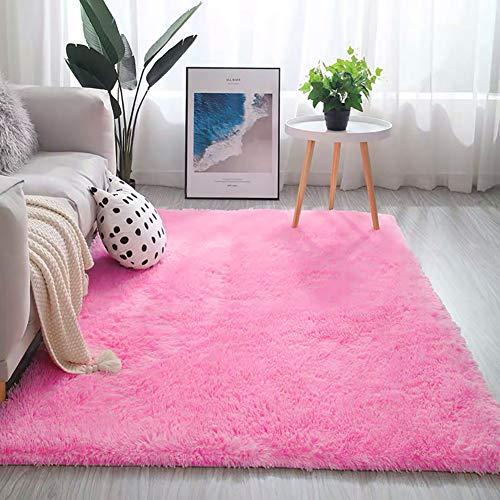 TSHG Alfombra antideslizante de piel sintética, alfombra de yoga, alfombra de felpa sedosa, alfombra de gran tamaño, para decoración de dormitorio o sofá, color rosa claro, 60 x 160 cm