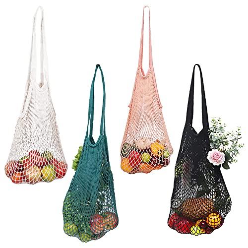 BELLE VOUS Netz Einkaufstasche (4 STK) – Netz Tasche aus Baumwolle mit Griff – Tragbare, Wiederverwendbare und Waschbare Netz Beutel – Netz für Sandspielzeug, Obst & Gemüse Netzbeutel