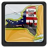 FCZ Schubladenknöpfe, Motiv New York-Karte, aus Kristallglas, quadratisch, mit Schrauben, für Zuhause, Küche, Büro, 3 Stück