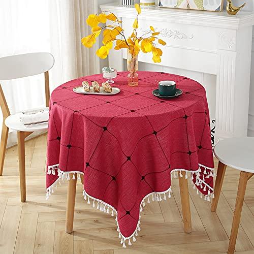 Mantel A Cuadros Redondo Azul Rojo Gris Verde Respetuoso con El Medio Ambiente Aislamiento Térmico Mantel De Café De Color Sólido Adecuado para Mesas Redondas Cafés