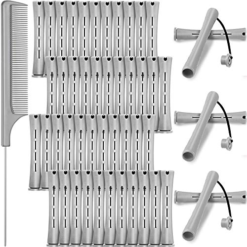 48 Pieces Hair Perm Rods Cold Wave Rods Plastic Perming Rods Curlers Hair Rollers with Steel Pintail Comb Rat Tail Comb for Hairdressing Styling Tools (0.59 Inch/ 1.5 cm, Gray)