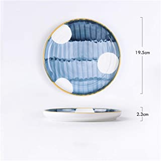 Nwn 2 Pieces / 5 Pieces Japanese Hand-Painted Ceramic Plate Creative Home Dish Glaze Color Tableware Western Dish Steak Plate Breakfast Plate (Capacity : 2 Pieces, Color : D)
