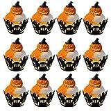 PPTS 24 unids/set Halloween hueco taza de papel araña web calabaza miedo castillo torta frontera